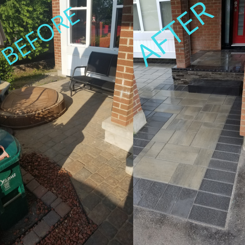 interlock concrete overlay before and after